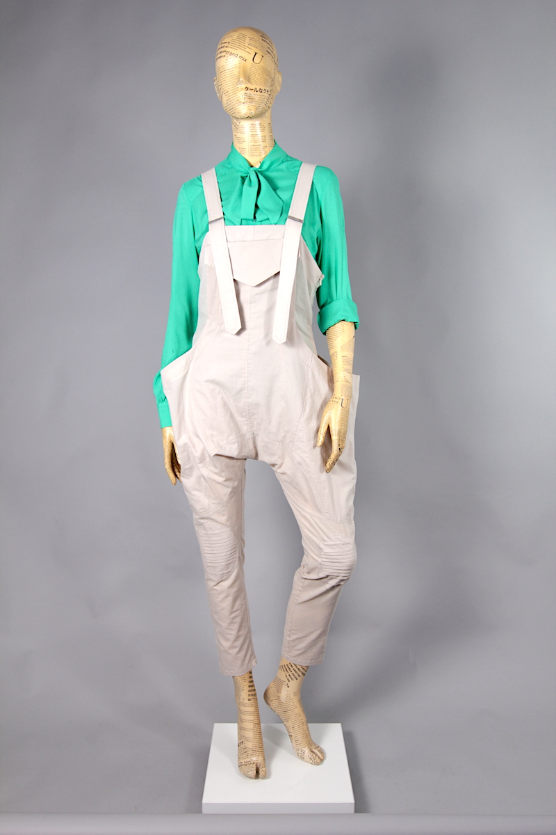 LIGHT BEIGE OVERALLS WITH POCKET