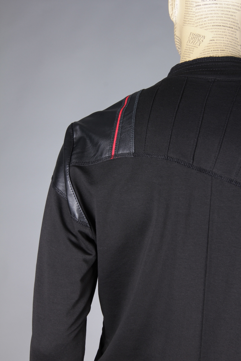 BLACK JACKET KIMONO WITH ECO LEATHER APLICATIONS 2
