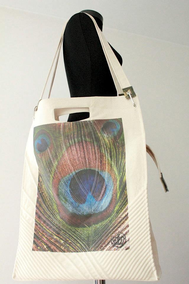 BAG CANVAS WITH PRINT PEACOCK FEATHER