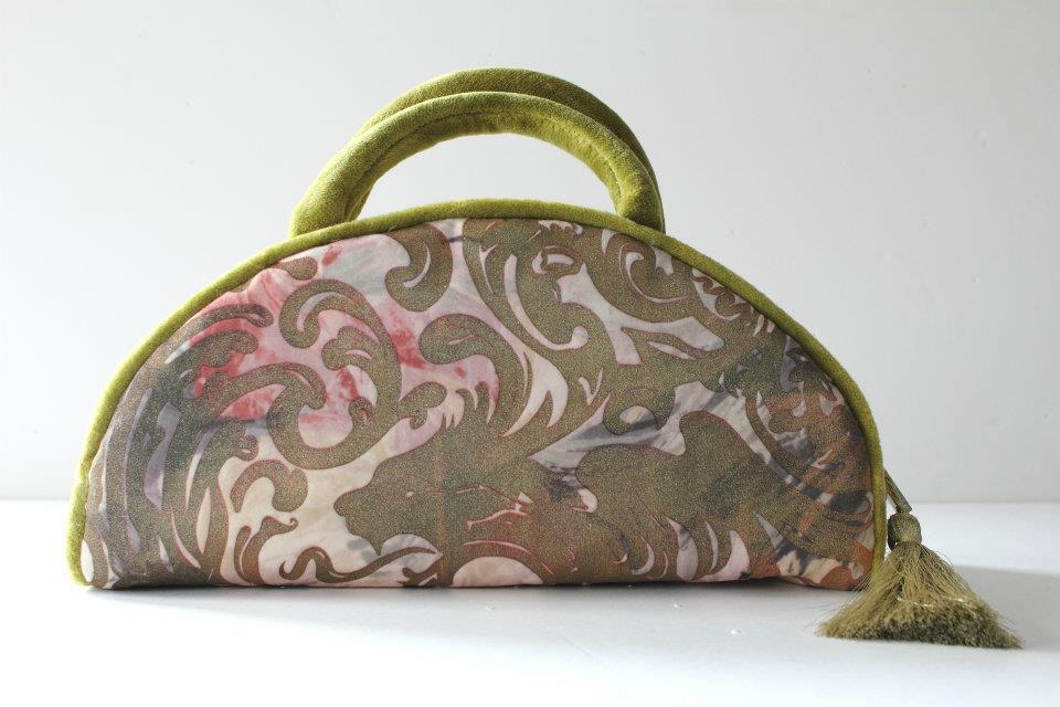 PURSE HANDMADE PRINT VELVET GREEN